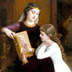 The Reading Lesson, by Emile Munier (19th c.)